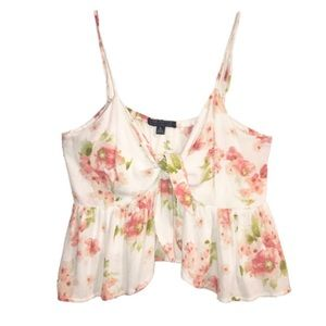 LOVE CULTURE Tie Front Ruffle Floral Crop Top